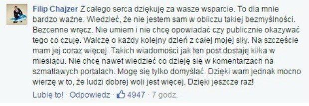 Komentarz z Facebooka Filipa Chajzera