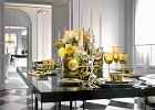 St� bogato zastawiony. Mnogo�� form, kolor�w i materia��w. Zastawa z kolekcji Vanity, wazon - Medusa Gold, szk�o - Arabesque Amber. Rosenthal