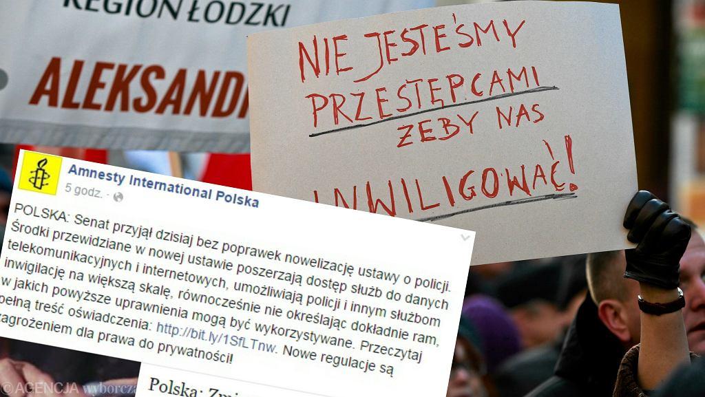 Demonstracja KOD przeciw ustawie o inwigilacji