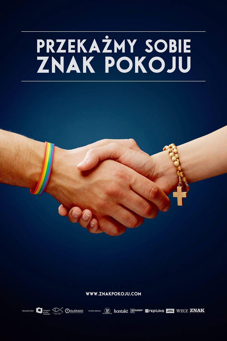 Fragment plakatu kampanii 'Przekażmy sobie znak pokoju'