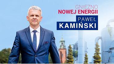 Kadr ze strony sztabu wyborczego Pawła Kamińskiego (PiS) z Gniezna