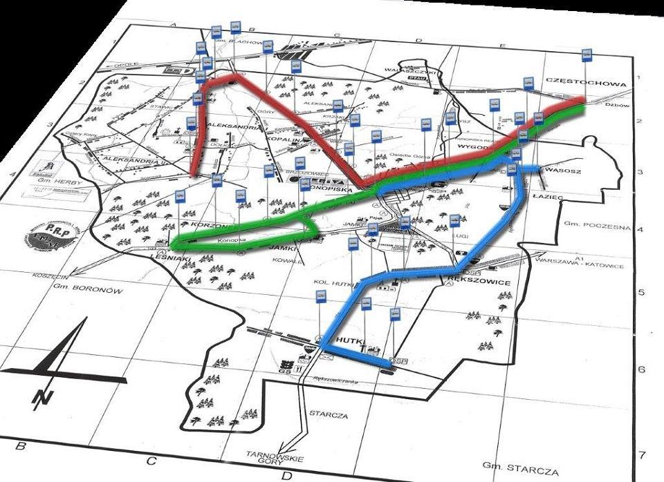 Schemat komunikacji w gminie Konopiska