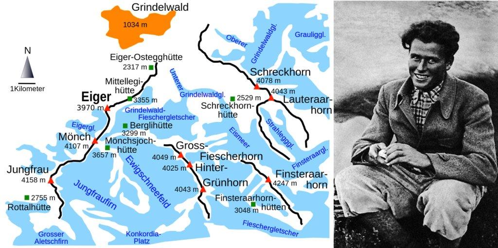 Po lewej: mapa regionu wokół szczytu Eiger (fot. Kauk0r / Wikimedia Commons / CC BY-SA 3.0); po prawej: Toni Kurz, 1936 (fot. autor nieznany / Wikimedia Commons / CC BY-SA 4.0)