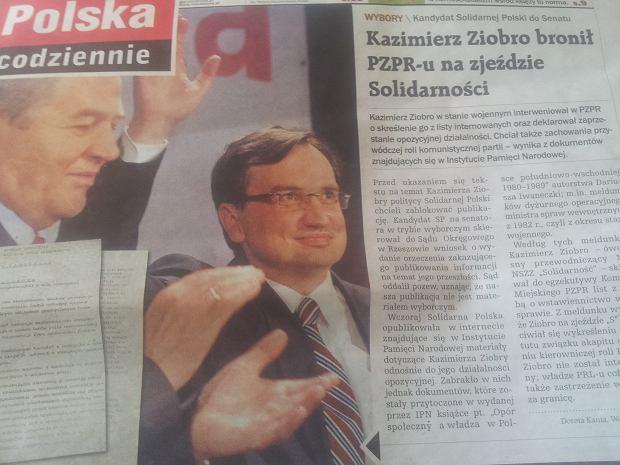 Gazeta Polska Codziennie ma przeprosi� Kazimierza Ziobr�