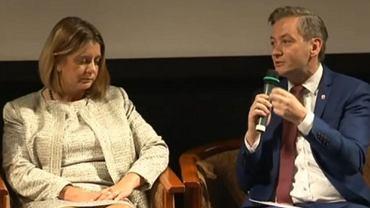 Prezydent Świdnicy Beata Moskal-Słaniewska i Robert Biedroń, prezydent Słupska