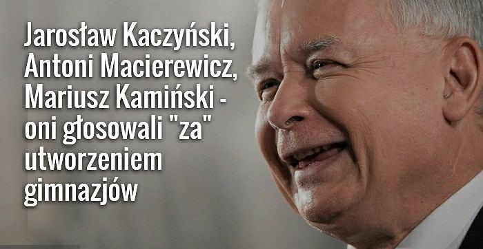Jarosław Kaczyński głosował za utworzeniem gimnazjów