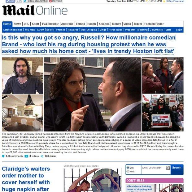 DailyMail o zachowaniu Russella Branda