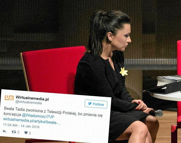 """Beata Tadla zwolniona z TVP. Nowy zarz�d zmieni� koncepcj� """"Wiadomo�ci"""""""