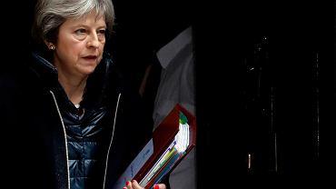 14.02.2018, premier Wielkiej Brytanii Theresa May w drodze do Parlamentu na cotygodniową sesję pytań do premiera.