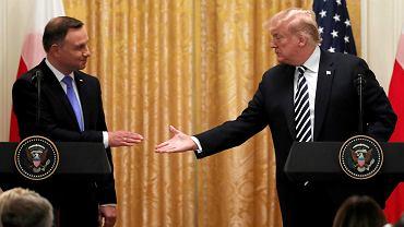Prezydent Stanów Zjednoczonych Donald Trump i prezydent RP Andrzej Duda podczas wspólnej konferencji prasowej w Białym Domu. Waszyngton, USA, 18 września 2018