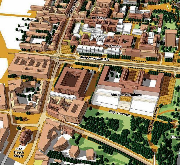 Koncepcja planu zagospodarowania w rejonie ulicy Foksal  zrodlo : Dawos