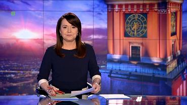 """""""Wiadomości"""", TVP 1, godz. 19:30, poniedziałek 11 kwietnia 2016 prowadziła Danuta Holecka"""