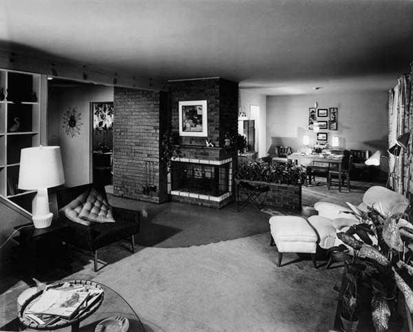Wnętrze typowego domku typu Levithouse