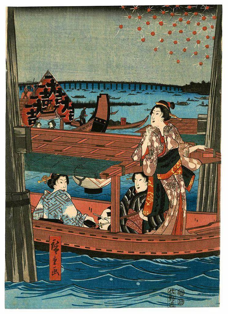 / Utagawa Hiroshige, Kobiety zażywające wieczornej ochłody w dzielnicy Ryogoku w Edo, Muzeum Narodowe w Warszawie