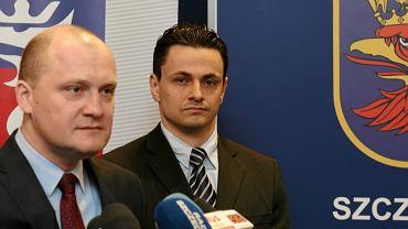 Prezydent Szczecina Piotr Krzystek i jego zastępca Marcin Pawlicki