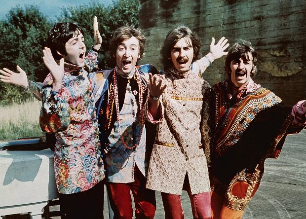 The Beatles podczas kręcenia filmu 'Magical Mystery Tour'