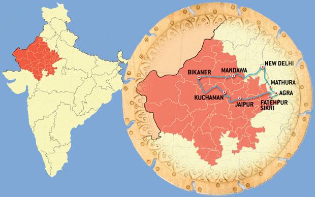 Indie - podróż po Radżasthanie, azja, podróże, Trasa naszej podróży