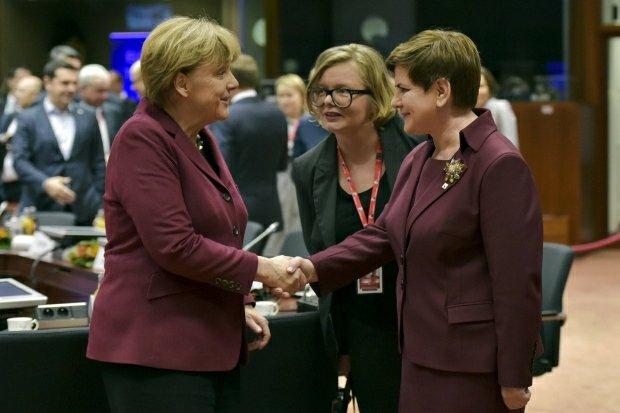 Beata Szyd�o z Angel� Merkel na szczycie UE-Turcja