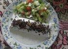 Nale�niki z kurczakiem i serem w sosie czosnkowym z pra�on� cebulk�