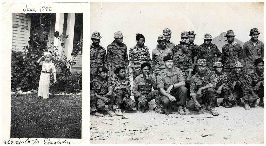 Po lewej salutujący Gritz w wieku 3 lat. Po prawej już jako dorosły mężczyzna, wśród żołnierzy. Kadry z filmu ''Erase and Forget'' (fot. materiały prasowe)