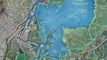 Mapa jeziora Dąbie z rejonem Przylądka Czterech Szkieletów