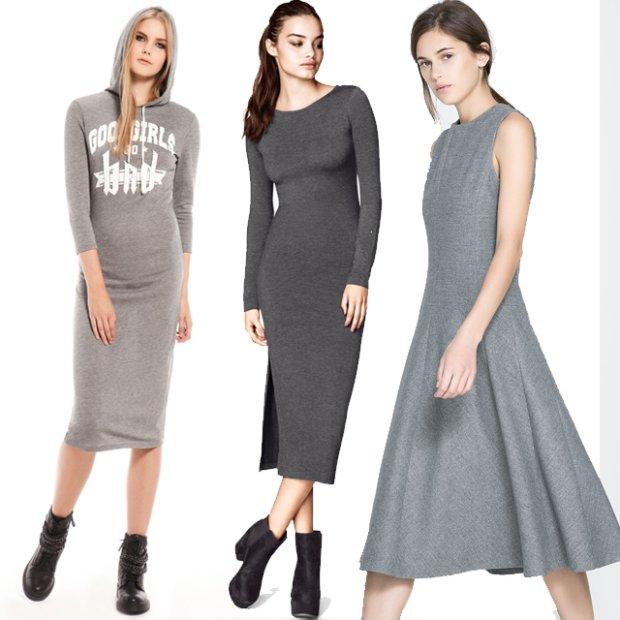 Szare sukienki na jesie�