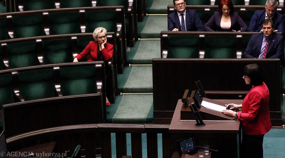 10.01.2018, Kaja Godek na trybunie sejmowej.