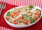 Makaron spaghetti z boczkiem i szpinakiem