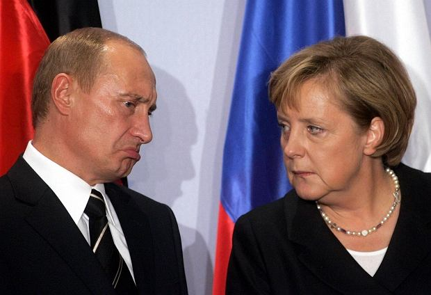 iFile photo of German Chancellor Merkel and Russian President Putin attending a news conference in Dresden