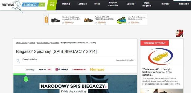 Informacja o Narodowym Spisie Biegaczy 2014 na portalu TreningBiegacza.pl