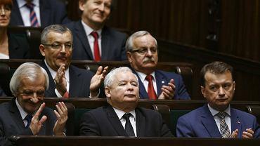 12 listopada 2015 r. Jarosław Kaczyński w sejmowych ławach PiS podczas pierwszego posiedzenia parlamentu