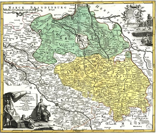 Łużyce, mapa z XVIII wieku