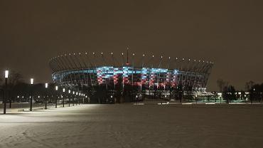 Reklama audi jest wyświetlana na elewacji Stadionu Narodowego