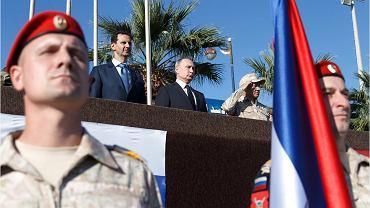 11.12.2017, Władimir Putin i prezydent Syrii Baszar al-Asad w rosyjskiej baziem Hmejmim