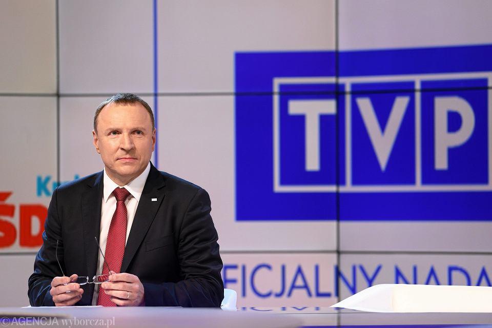 Warszawa, ulica Woronicza 17. Prezes TVP Jacek Kurski