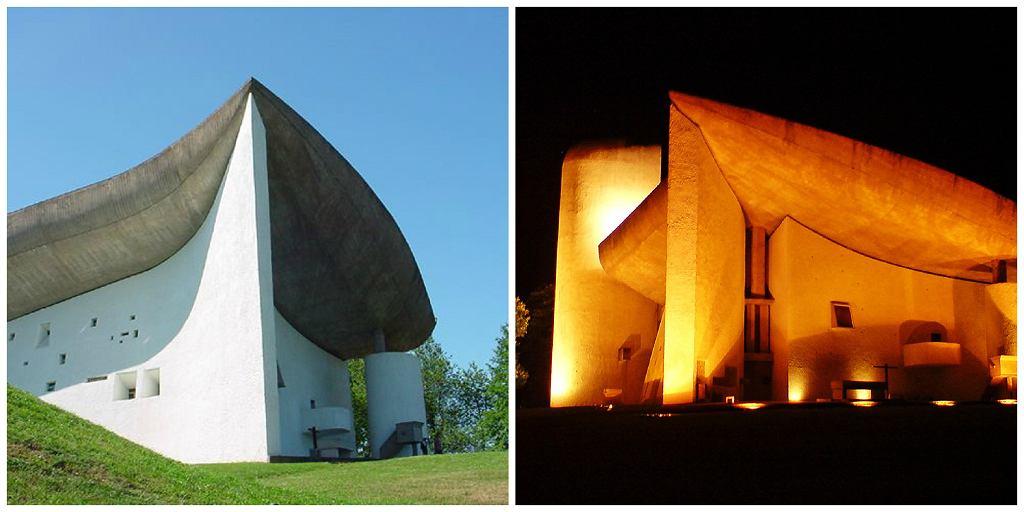 Kaplica w Ronchamp, jeden z projektów Le Corbusiera (fot. Valueyou / Wikimedia.org / CC BY-SA 3.0 / HAF 932 / Wikimedia.org / CC-BY-SA-1.0)