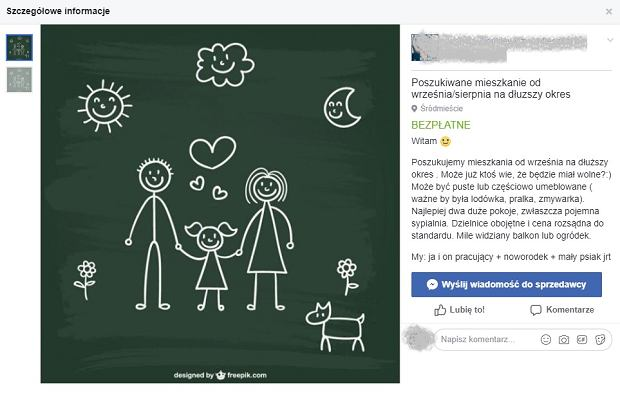 Przykładowe ogłoszenie w grupie 'Mieszkaj dobrze, Warszawo'