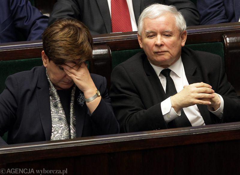 Premier Beata Szydło i prezes Jarosław Kaczyński