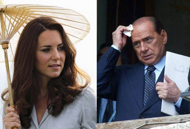 Księżna Kate i Silvio Berlusconi