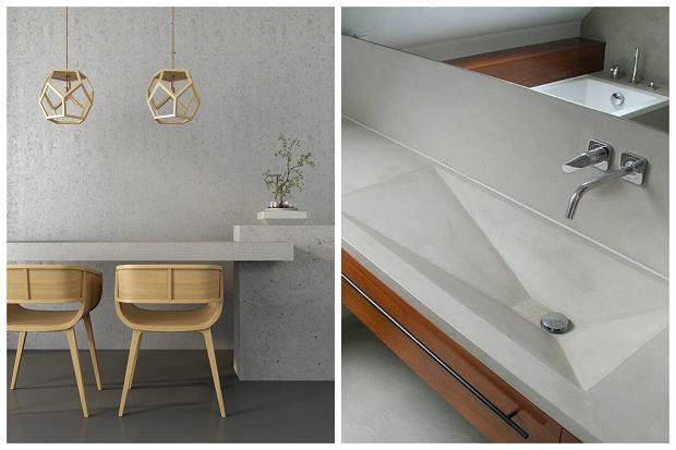 Beton na ścianach. Z betonu można też zrobić blat z umywalką do łazienki lub blat ze zlewem do kuchni.