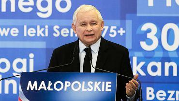 14.10.2018, Kraków, prezes PiS Jarosław Kaczyński podczas konwencji małopolskiego PiS.