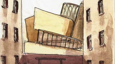 Wizja budynku Libeskinda z perspektywy okolicznych podwórek autorstwa Adama Brajtera
