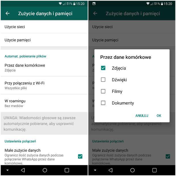 Kontrola automatycznego pobierania w WhatsApp