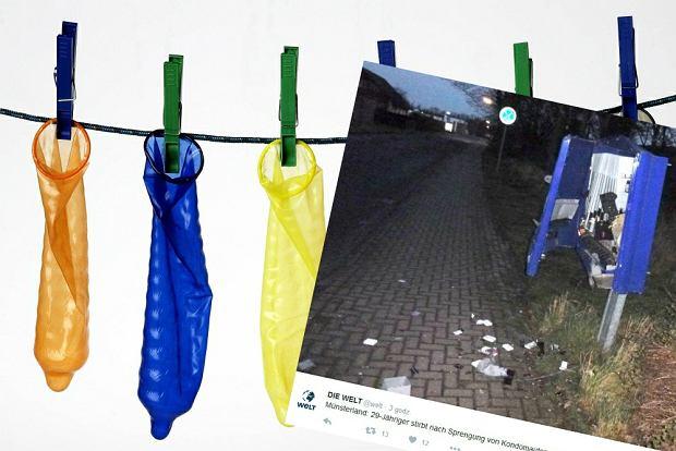 29-latek zgin��, wysadzaj�c automat z prezerwatywami