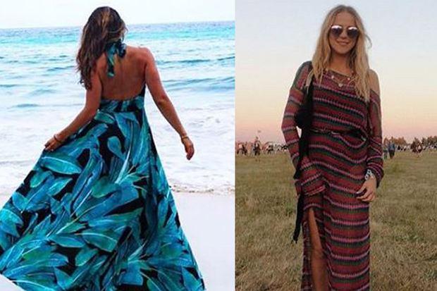 Kolaż, sukienka maxi/Materiały partnera/www.instagram.com/annalewandowskahpba/www.instagram.com/jemerced/