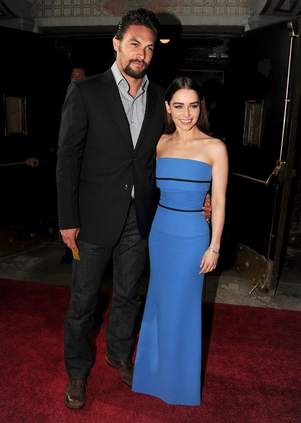 "HOLLYWOOD, CA - MARCH 18: Actors Jason Momoa (L) and Emilia Clarke arrive at the premiere of HBO's ""Game Of Thrones"" Season 3 at TCL Chinese Theatre on March 18, 2013 in Hollywood, California.   Kevin Winter/Getty Images/AFP"