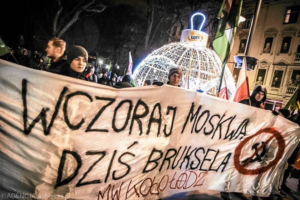 Antyeuropejska demonstracja w Łodzi. Grudzień 2015