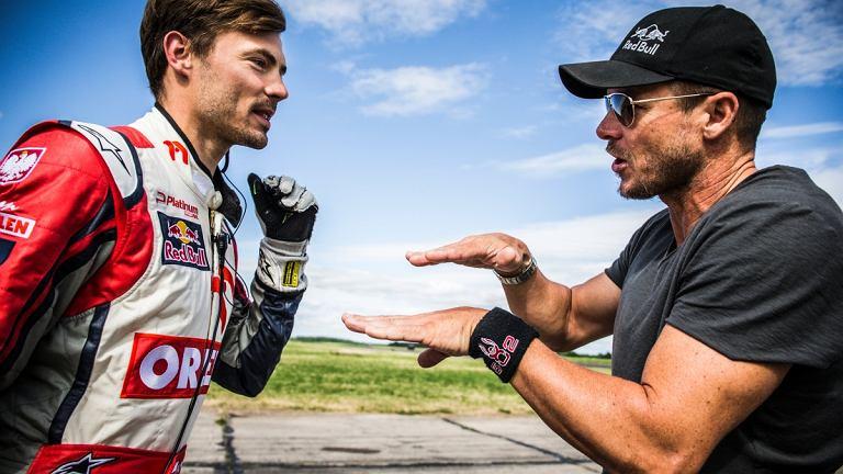 K.Przygonski i F.Baumgartner podczas Red Bull Heli Drifting