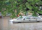 Gwałtowna ulewa w Łódzkiem. Gradobicie, samochody zalane po dach