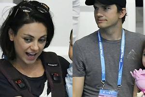 Mila Kunis i Ashton Kutcher PIERWSZY RAZ publicznie z dziećmi. Dimitri i Wyatt chyba się nudzili. Co na to Mila?